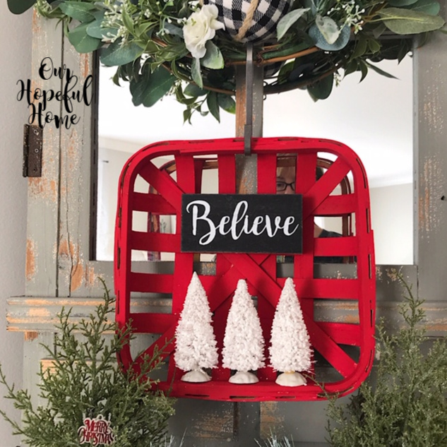 farmhouse red tobacco basket hanging wreath white bottle brush trees