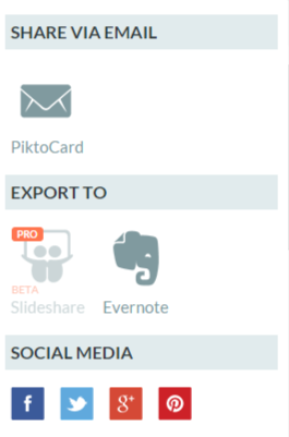 Piktochart Also Gives You The Option To Export Your Popular Services Such As Evernote And Slideshare This Is Only Available With A Pro