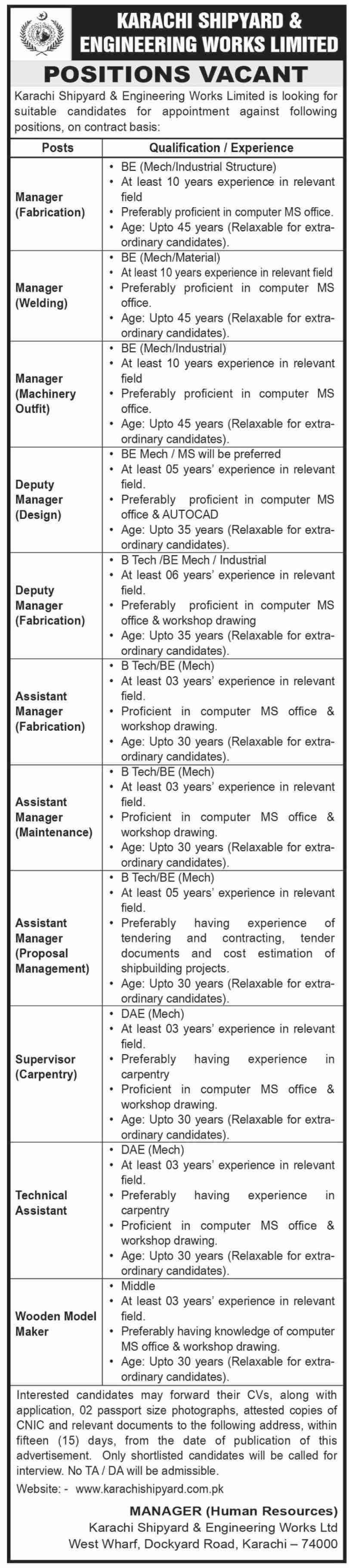 Karachi Shipyard & Engineering Works Limited Jobs 2020 For Managers & Technical Assistant