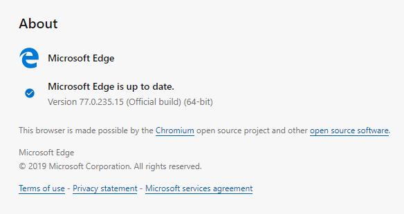 Microsoft Edge stabile si aggiorna alla versione 77.0.235.15