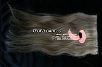 Aplique de cabelo humano loiro com chocolate 43 cm