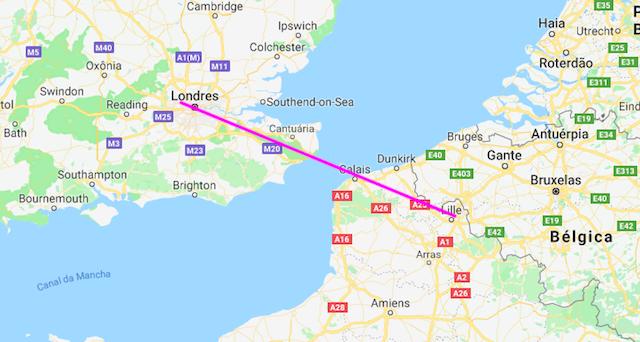 Mapa da viagem de trem de Lille a Londres