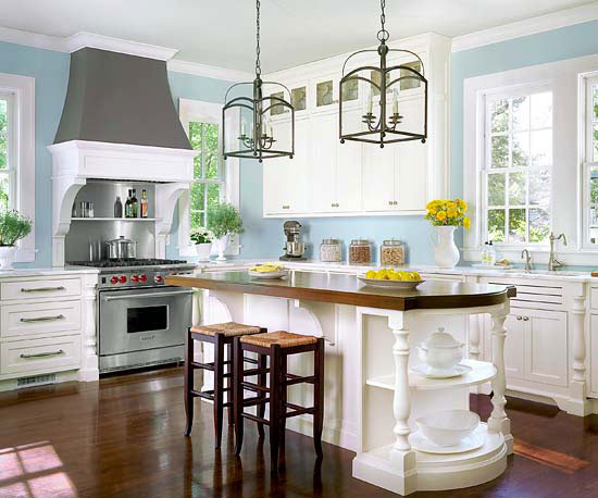 Home decor ideas light blue kitchen walls for White and blue kitchen ideas