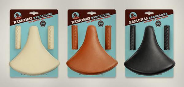 Colección Ramonas Classic para bicicletas de paseo: Packs Sillín + puños con costuras en marfil, miel y negro