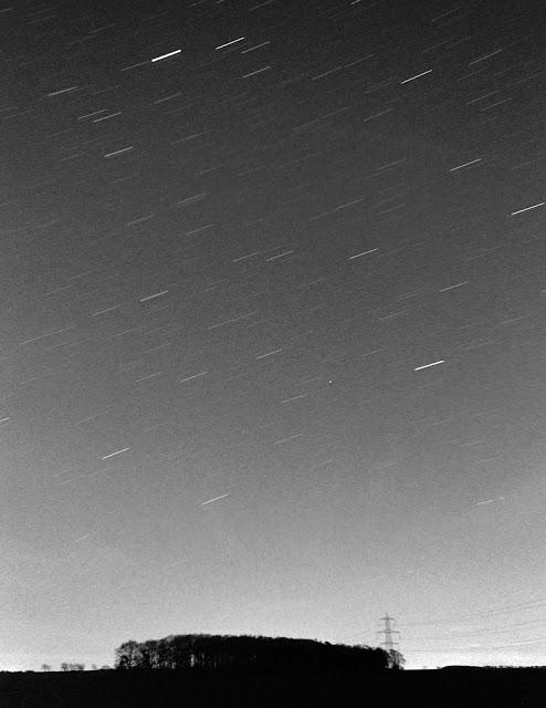 Black and white Kodak TMAX 400 film long exposure of star trails