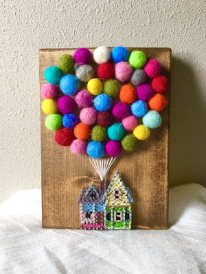 casa che vola con palloncini del film UP in string art