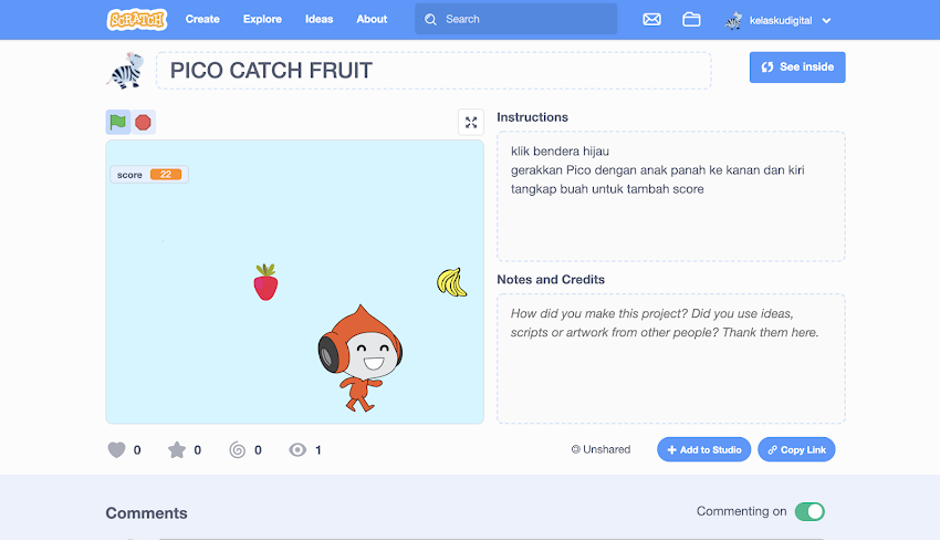 Tutorial Scratch 3.0: Membuat Game Pico Catch Fruits