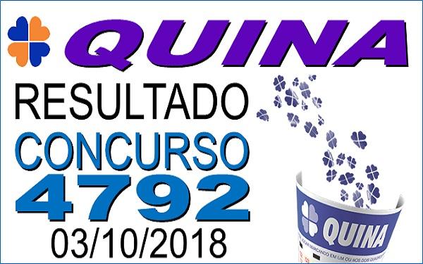 Resultado da Quina concurso 4792 de 03/10/2018 (Imagem: Informe Notícias)