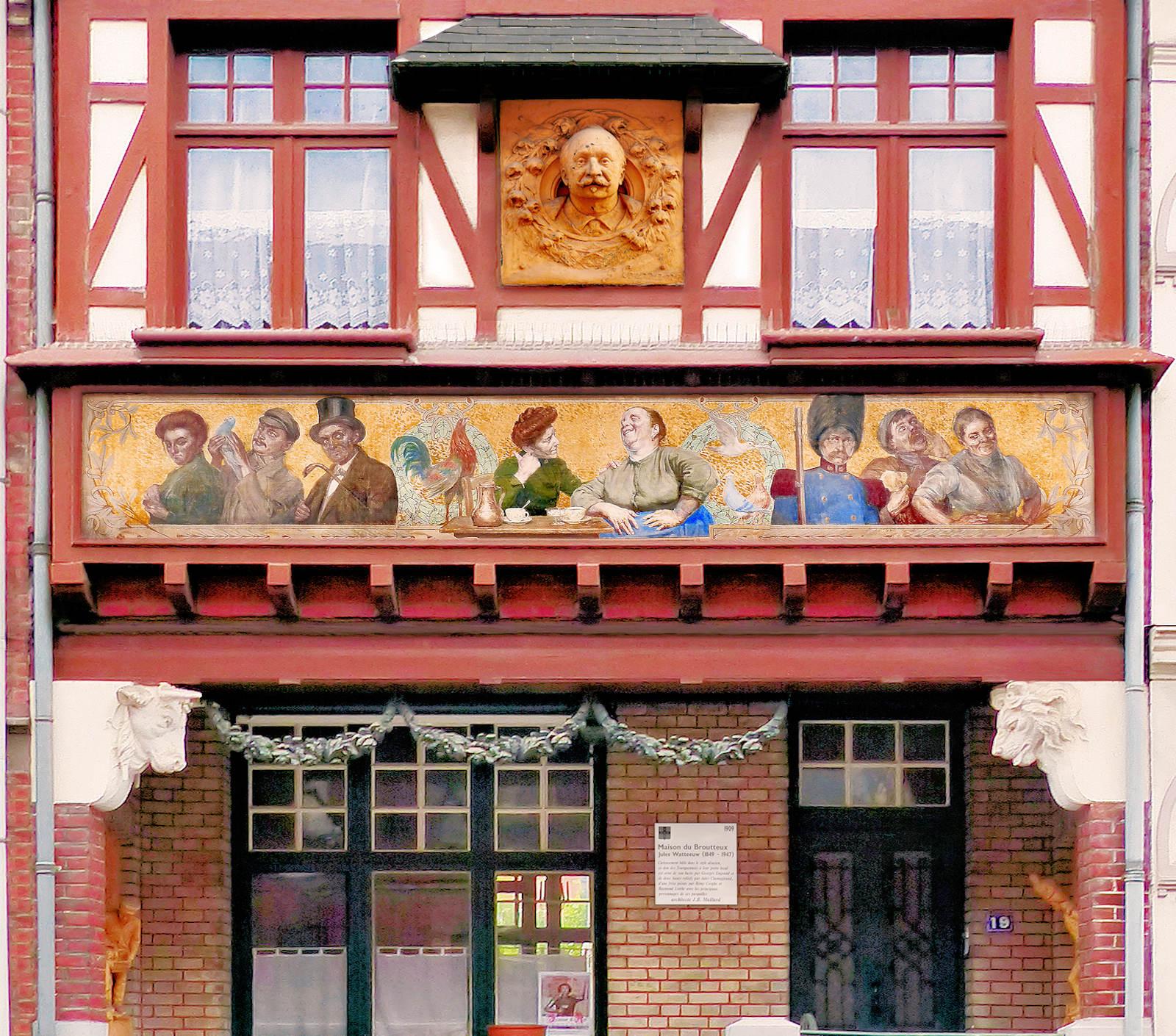 Maison du Broutteux, Tourcoing - La frise centrale.