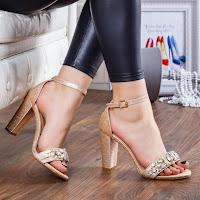 Sandale Lerimani aurii cu pietre
