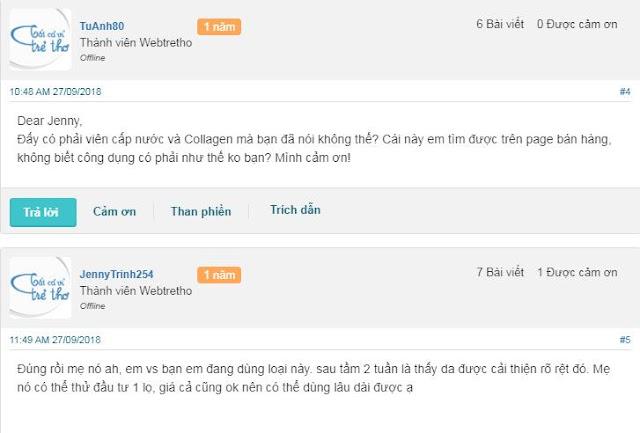 Bình luận khách hàng về viên uống cấp nước Collagen Innerb Aqua Rich CJ Cheiljedang