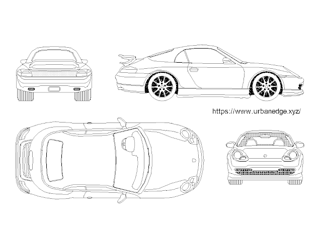 Car cad blocks, Car dwg model - Porsche Boxster 2000 Model