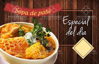 plantilla banner menu comida restaurante sopa de pata social media
