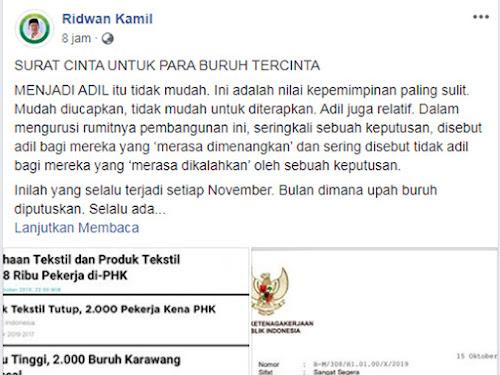 Surat Cinta Ridwan Kamil untuk Buruh