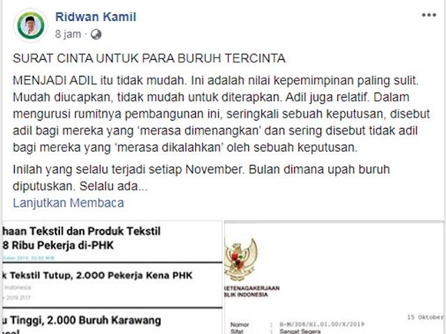 Terkait Surat Edaran Penetapan UMK, Ridwan Kamil Posting Surat Cinta untuk Buruh, Begini Isinya