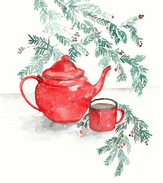 Original Watercolor Red Teapot Christmas Painting