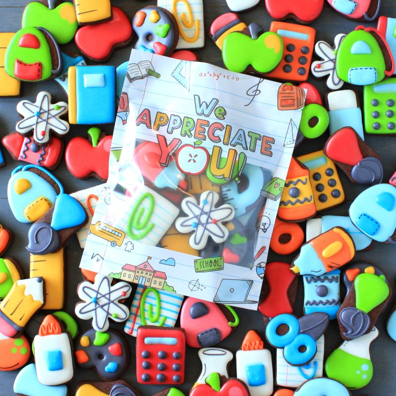 custom decorated teacher appreciation chocolate sugar cookies