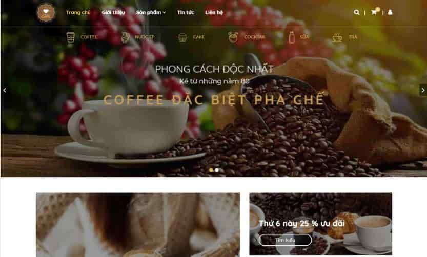 Giao diện blogspot dành cho quán cà phê