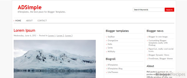 ADSimple Blogger Template