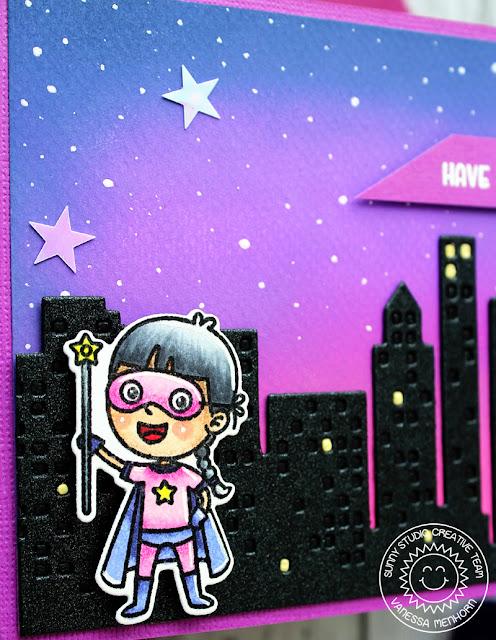 Sunny Studio Stamps: Super Duper Cityscape Border Dies Super Hero Themed Card by Vanessa Menhorn