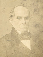 A black-and-white salted paper photograph of an elderly Daniel Webster.
