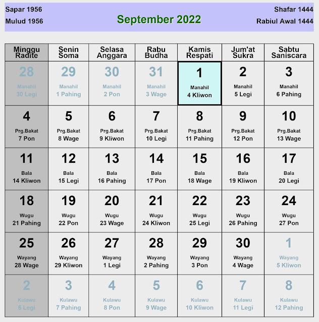 Kalender Jawa September 2022 Lengkap Hari Baik & Buruk