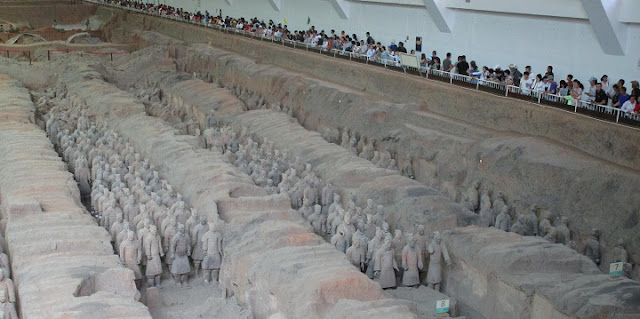 These are the Terracotta Warriors protecting the Qin Mausoleum's east front. Credit: Giulio Magli