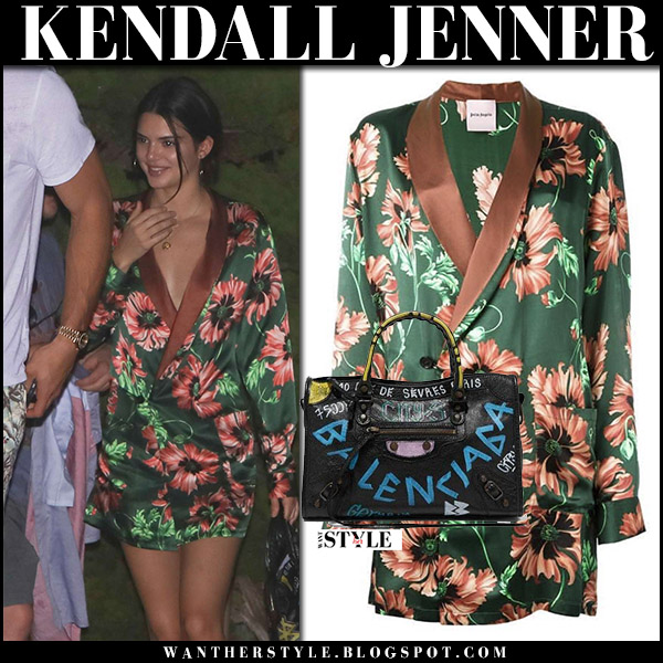 Kendall Jenner in green floral print blazer dress palm angels and white sneakers adidas september 2 2017 celebrity style