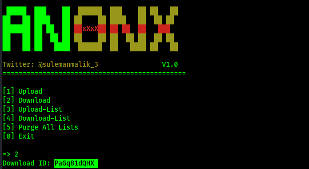 Anonx download ID for the file