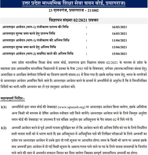 Uttar Pradesh SESSB TGT PGT Vacancy 2021 online form