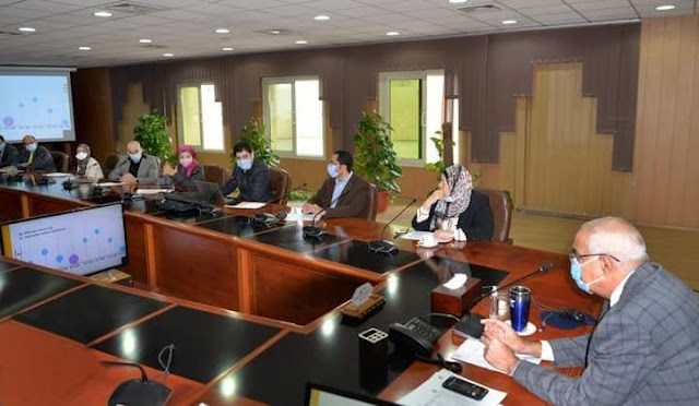 أعضاء مكتب العلاقات الدولية في لقاء مع  رئيس جامعة المنصورة   لبحث آليات تدويل الجامعة