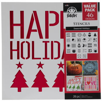 Photo of a Folkart Holiday Stencil pack.