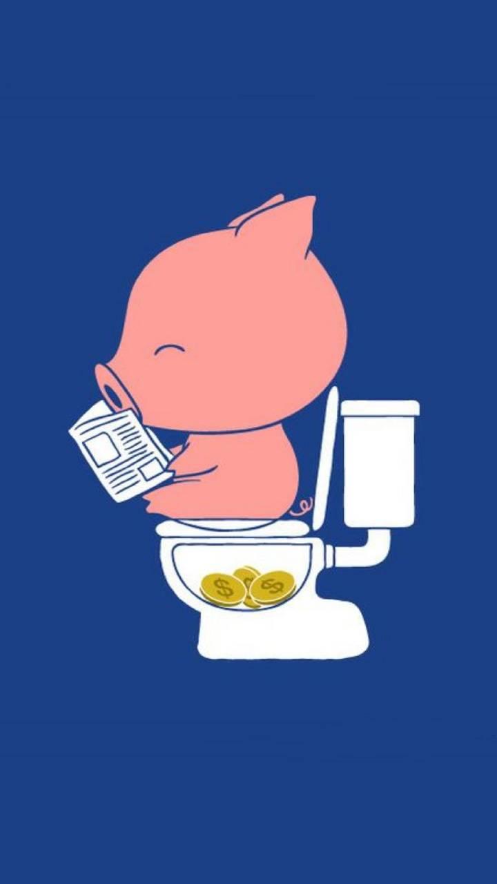 hình nền đẹp chú heo ủn ỉn đi toilet ra tiền hinhnen4d.com miễn phí