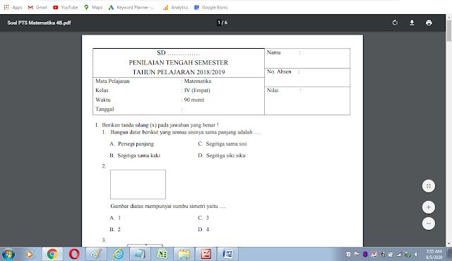 Soal uts matematika kelas 4 semester 2 kurikulum 2013