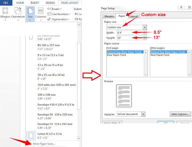 Long Bond Paper  in Microsoft Word