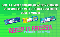 Logo Vigorsol ''Keep The Music Fresh'': vinci abbonamenti Spotify Premium ogni 15 minuti