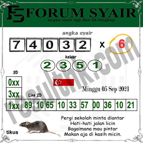 Forum Syair SGP Minggu 05 September 2021