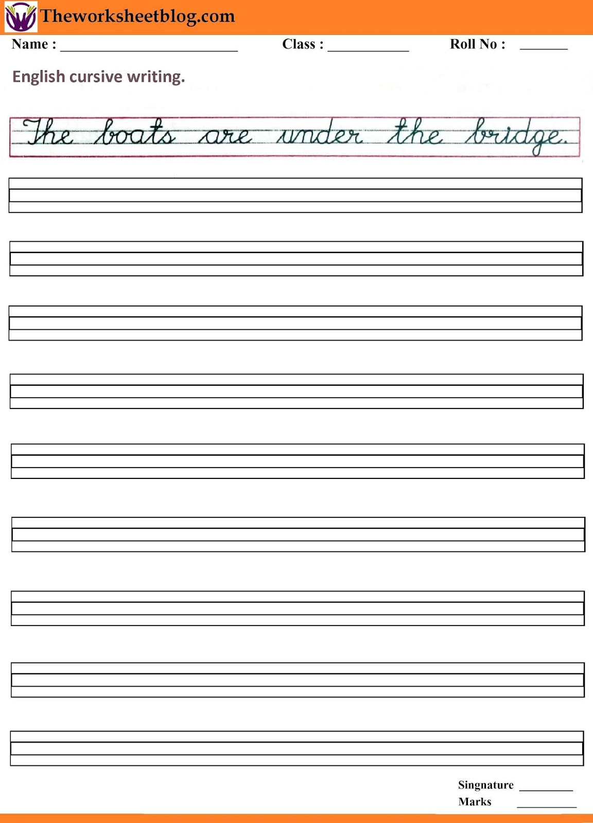 English Cursive Handwriting Worksheet
