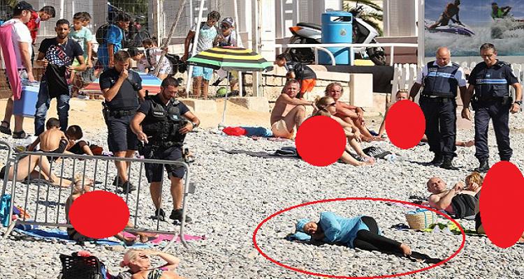 شاهد كيف أجبرت شرطة فرنسا إمرأة مسلمة على خلع ملابسها بشاطئ في نيس