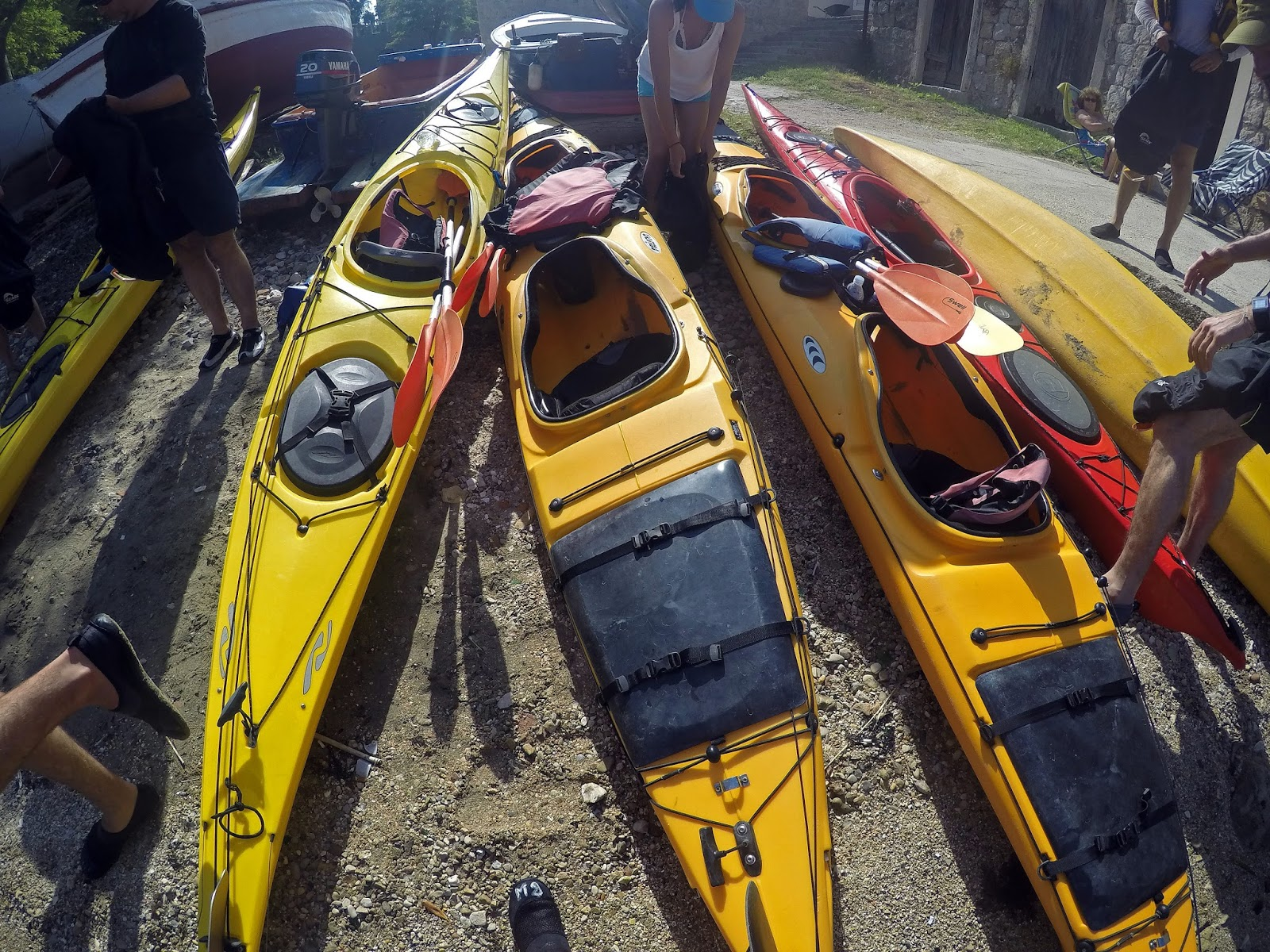 Group kayaks on Sipan Island Croatia