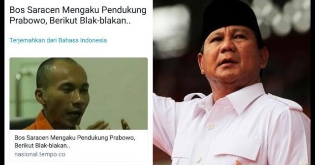 """Kasus Saracen Mulai Digoreng Dihubungkan dengan Prabowo, """"Aroma 2019 begitu menyengat!"""""""
