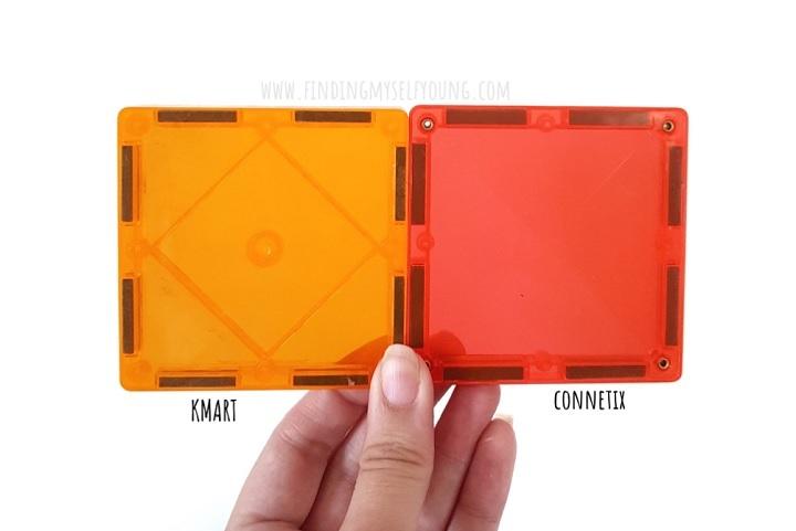 orange kmart magnetic tile vs connetix tile