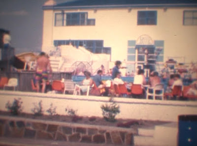 A view of the outdoor pool area and indoor pool building. 1989. Photo from the Gottfried family archive