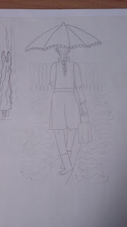 pencil drawing of woman walking with umbrella under the rain hanging a bag