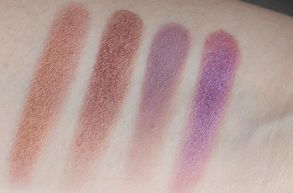 cienie GlamShadows: Rabarbar, Wytrawny Róż, Błękitny Burgund oraz Mars, Glamshop.pl