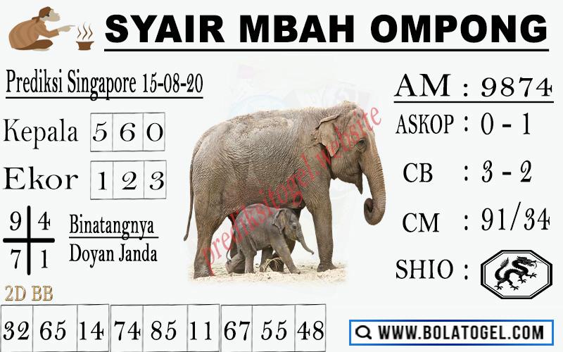 syair sgp mbah ompong 15 agustus 2020
