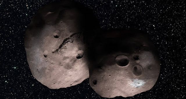 One artist's concept of Kuiper Belt object 2014 MU69, the next flyby target for NASA's New Horizons mission. This binary concept is based on telescope observations made at Patagonia, Argentina on July 17, 2017 when MU69 passed in front of a star. New Horizons theorize that it could be a single body with a large chunk taken out of it, or two bodies that are close together or even touching. Credits: NASA/JHUAPL/SwRI/Alex Parker