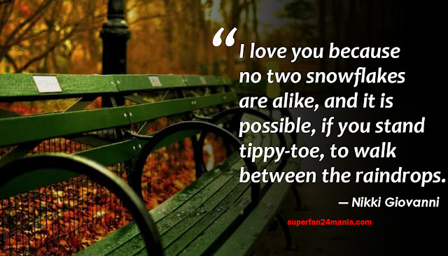I love you because no two snowflakes are alike, and it is possible, if you stand tippy-toe, to walk between the raindrops.