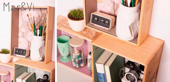 estantería hecha de cajas de vino