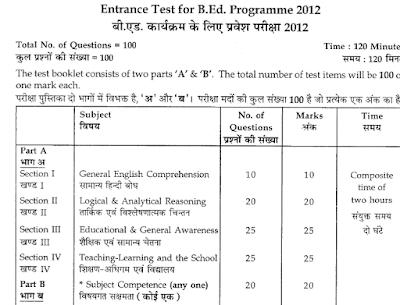 Download B.ed Entrance Exam Questions Paper